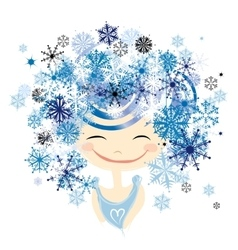 Winter female portrait for your design vector image