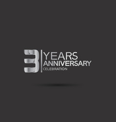 3 years anniversary logotype with silver color vector