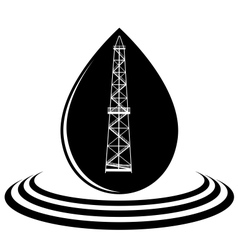 a drop oil and oil rig vector image