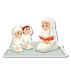 A sticker template with muslim people mother vector