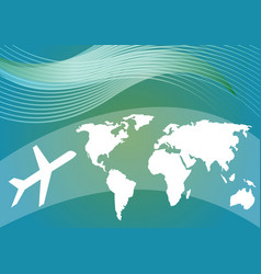 Air travelling background with stylized world map vector
