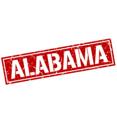 Alabama red square stamp vector