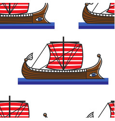 Ancient greek ship or galley seamless pattern vector