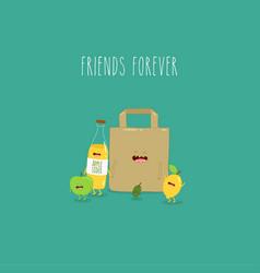 Apple sider olives lemon paper bag friends forever vector