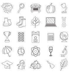 autumn school icon set outline line thin style vector image