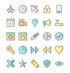 basic ui icon set vector image