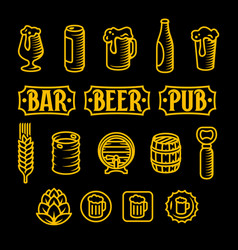Beer icon set engraved style gold vector
