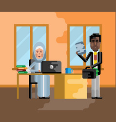 Business meeting african businessman with woman vector