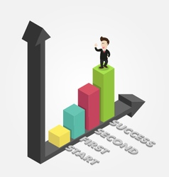 Businessman is on graph success isometric vector