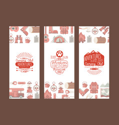 camping club adventures retro vertical banners set vector image