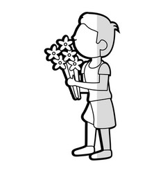 cartoon son boy bouquet flowers vector image