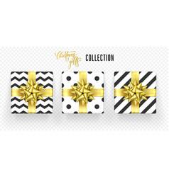 christmas gift box golden bow ribbon icons set vector image