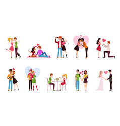 Couple in love set loving situations happy vector