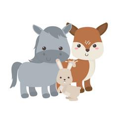 cute little horse deer and rabbit animal cartoon vector image