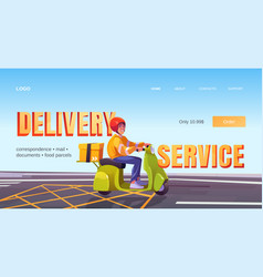 delivery service cartoon landing man on scooter vector image