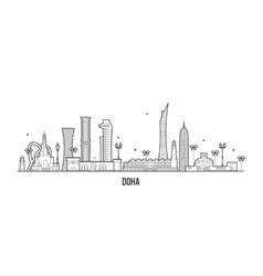 Doha skyline qatar city buildings linear vector