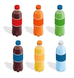 Drinks in bottles Summer drinks Flat 3d vector image