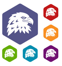 Eagle icons set hexagon vector