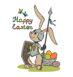 Easter bunny knight with a lance and shield vector