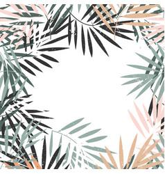 Elegant pastel frame tropical palm leaves vector