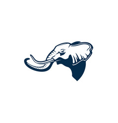 Elephant head profile trunk and two tusks isolated vector