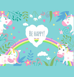 fairytale background unicorns funny vector image