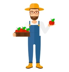 Farmer collecting apples vector
