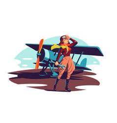 Female aviator holding wrench instrument vector