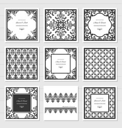 Filigree frames and decorative panels set laser vector