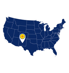 flag new mexico in location pin and map usa vector image