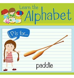 Flashcard letter P is for paddle vector