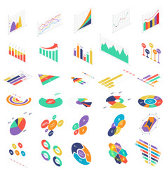 flat 3d isometric infographic elements icons graph vector image