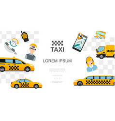 flat taxi colorful template vector image