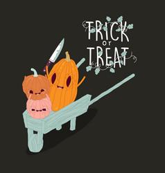 Funny pumpkins wish you a happy halloween vector