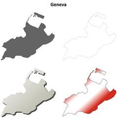 Geneva blank detailed outline map set vector