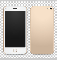 Gold mobile phone template with empty vector