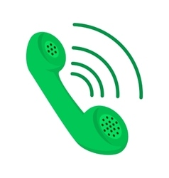 Green telephone receiver cartoon icon vector