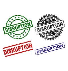 Grunge textured disruption seal stamps vector