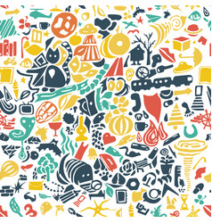 hand drawn seamless background with little cute vector image
