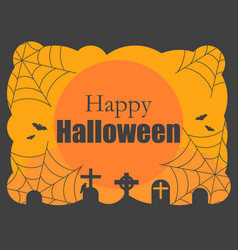 happy halloween background with graves cobwebs vector image