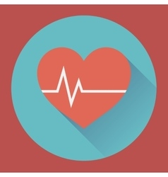 Heart rhythm and cardiogram medical flat icon vector image