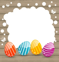 Holiday card with Easter colorful eggs on wooden vector image