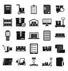 Inventory warehouse icons set simple style vector
