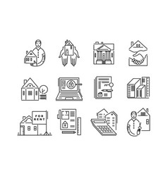 line icons real estate sale and rent signs vector image