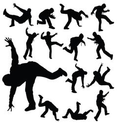 Man in various poses of break dance silhouette vector