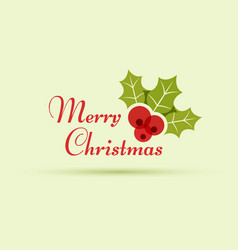 Merry christmas headline text with holly berry vector