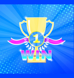 multicolored winner theme with cup vector image