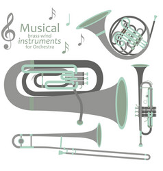 Musical brass wind instruments for orchestra vector