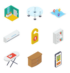 Pack isometric furniture icons vector