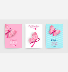 Pink breast cancer butterfly ribbon art poster set vector